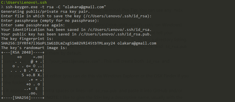 Create a SSH key pair using ssh-keygen command